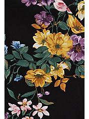 Button Front Tea Length Skirt - Challis Floral Black, FLORAL - BLACK, alternate