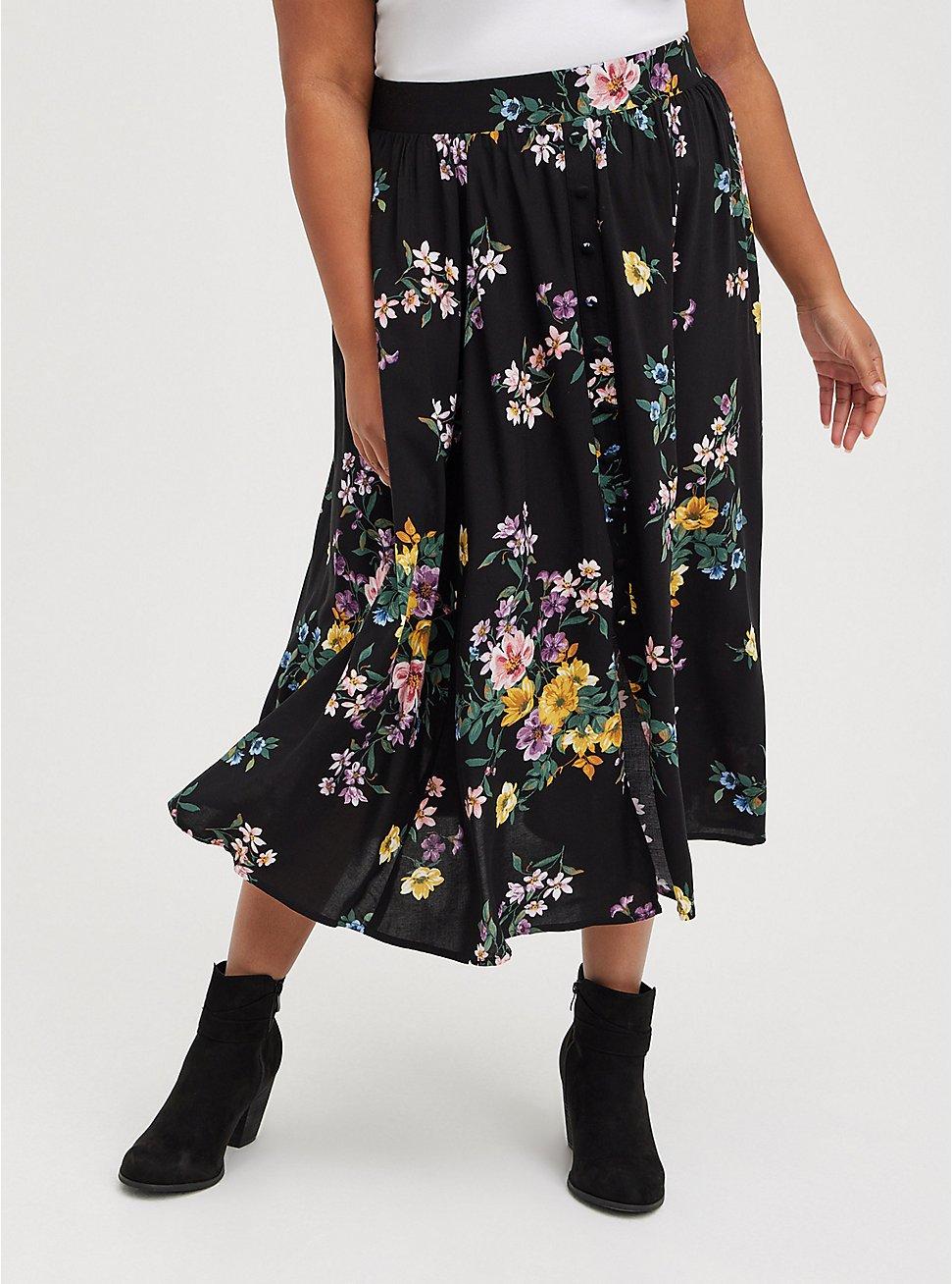Button Front Tea Length Skirt - Challis Floral Black, FLORAL - BLACK, hi-res