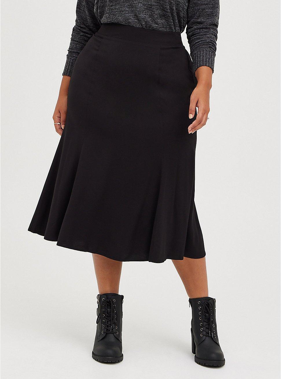 Plus Size Flared Midi Skirt - Challis Black, DEEP BLACK, hi-res