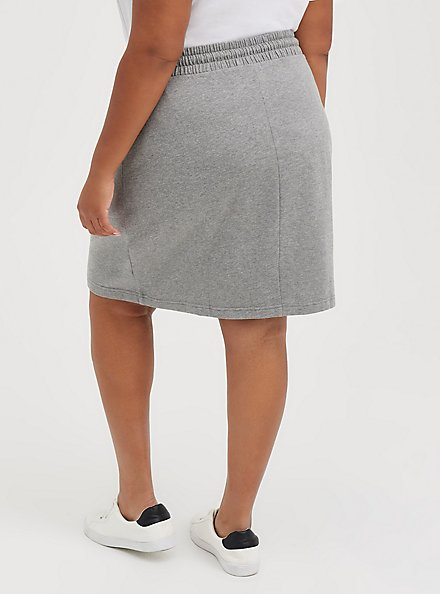 A-Line Mini Skirt - Fleece Grey, HEATHER GREY, alternate