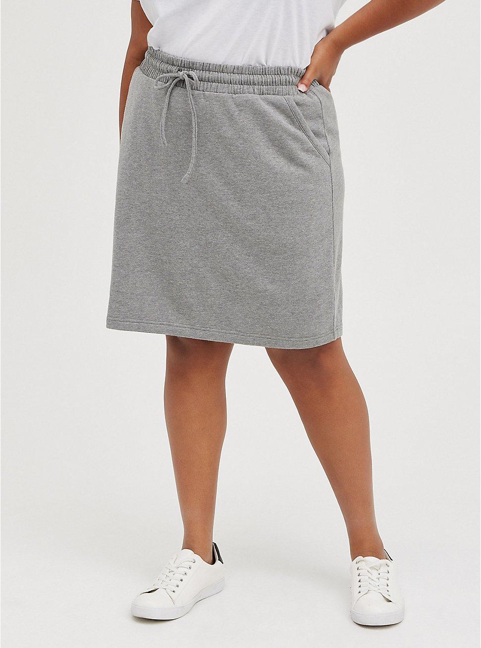 Plus Size A-Line Mini Skirt - Fleece Grey, HEATHER GREY, hi-res