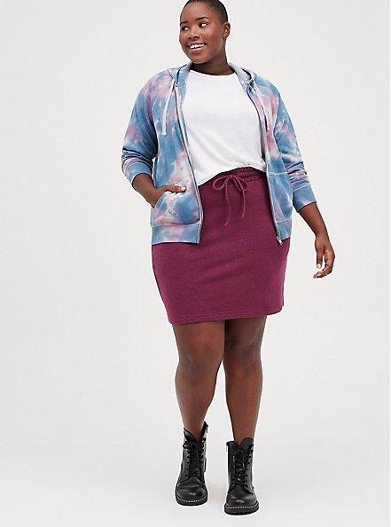 A-Line Mini Skirt - Fleece Purple , VIOLET, alternate