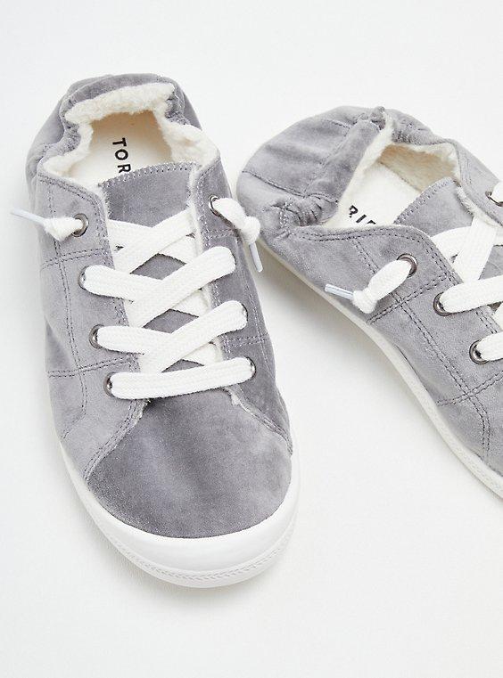 Riley Sneaker - Grey Velvet Fur Lined (WW), GREY, hi-res