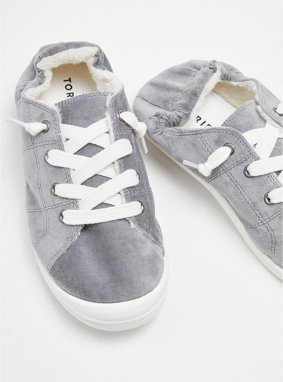Plus Size Riley Sneaker - Velvet Fur Lined Grey (WW), GREY, hi-res