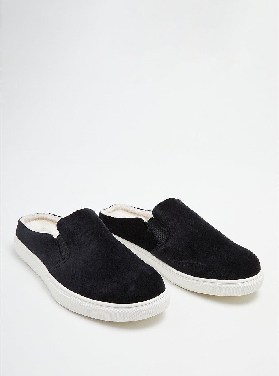 Plus Size Slip-On Sneaker - Velvet & Fur Lined Black (WW), BLACK, hi-res