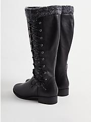 Sweater Criss-Cross Knee Boot - Black Faux Leather (WW), BLACK, alternate