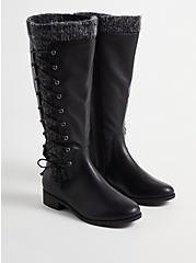 Sweater Criss-Cross Knee Boot - Black Faux Leather (WW), BLACK, hi-res