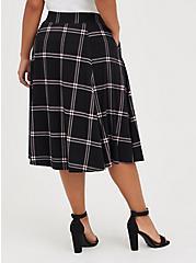 A-Line Midi Skirt - Ponte Plaid Black, PLAID - BLACK, alternate