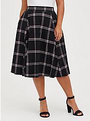 A-Line Midi Skirt - Ponte Plaid Black, PLAID - BLACK, hi-res