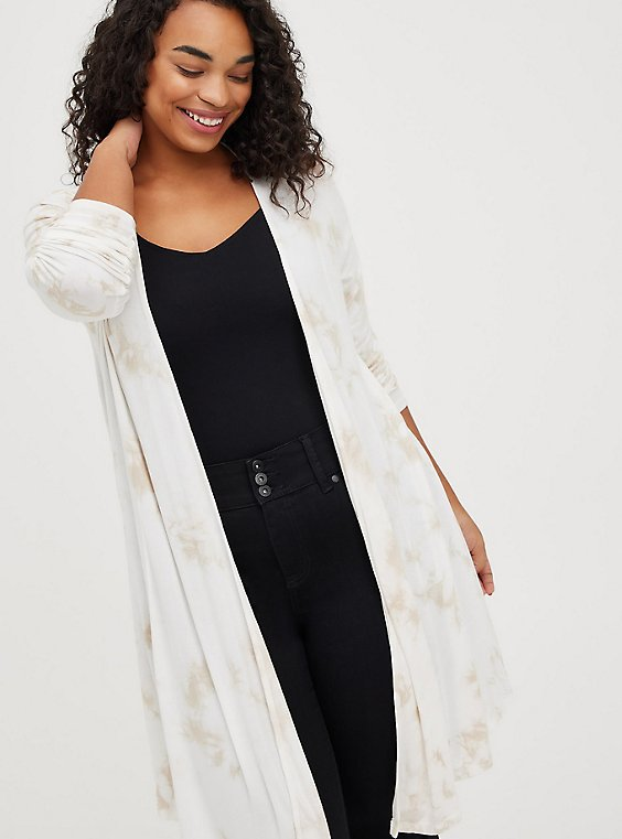 Fit & Flare Cardigan - Super Soft Taupe, TIE DYE, hi-res