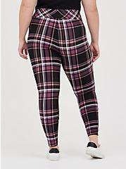 Plus Size Pull-On Pixie Pant - Luxe Ponte Burgundy Plaid with Slim Fix Technology, OTHER PRINTS, alternate