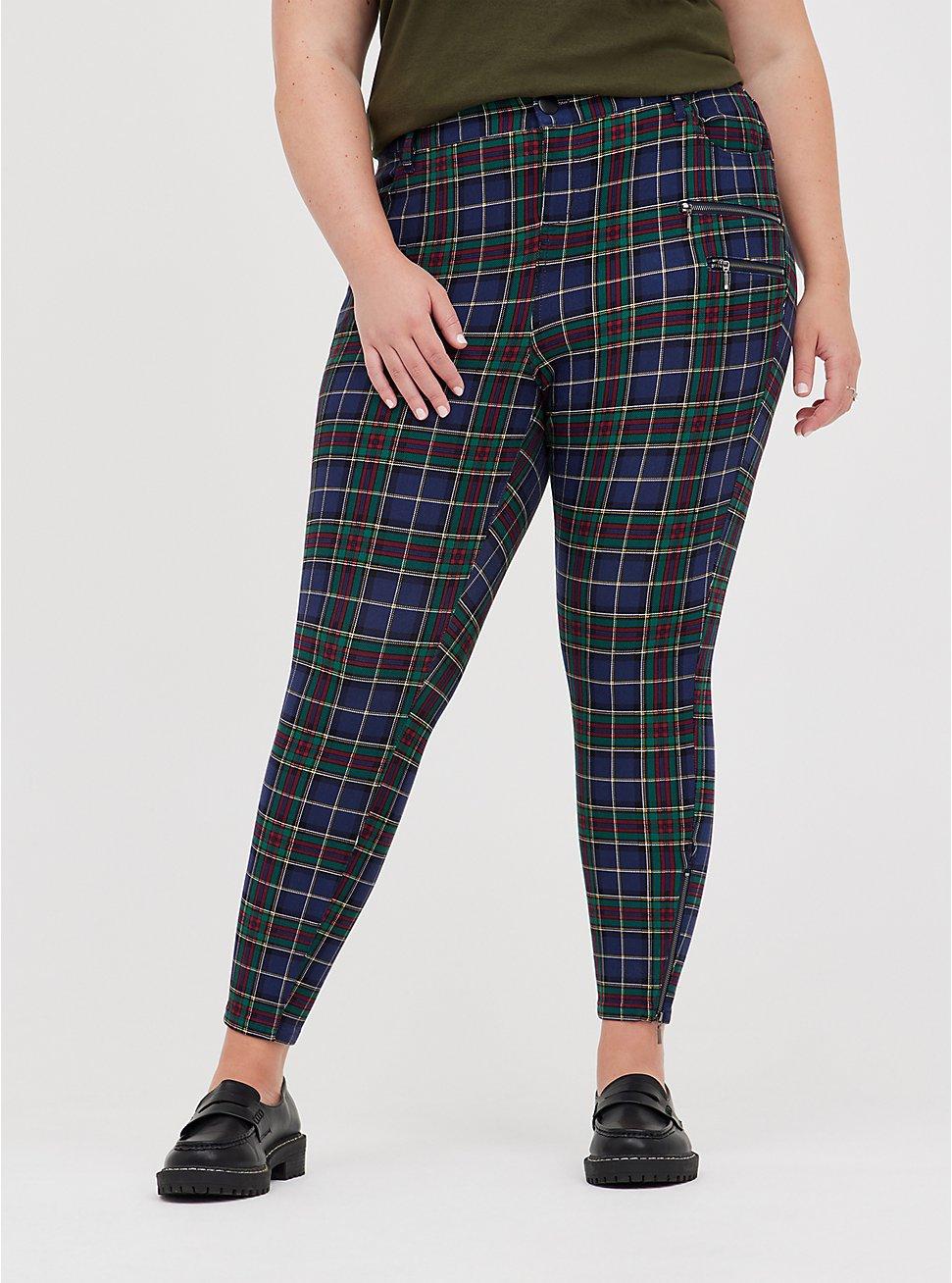 Zip Skinny Pant - Luxe Ponte Tartan Plaid, OTHER PRINTS, hi-res