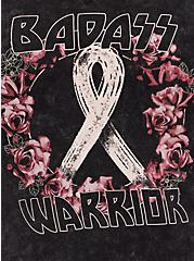 Breast Cancer Awareness Hoodie - Super Soft Warrior Mineral Wash Black, DEEP BLACK, alternate