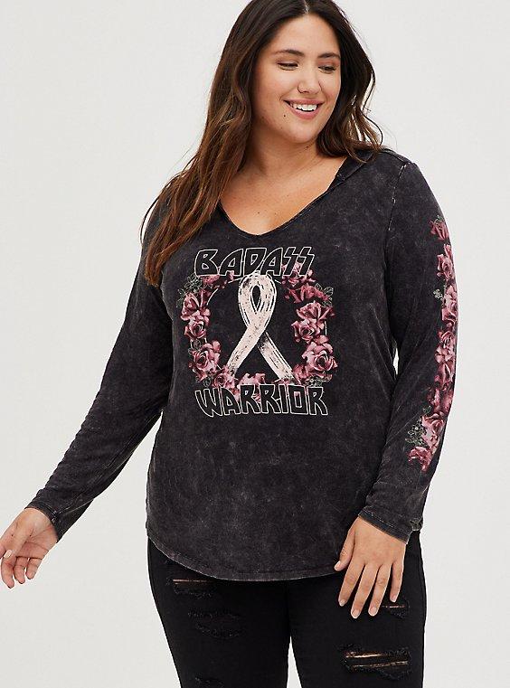 Breast Cancer Awareness Hoodie - Super Soft Warrior Mineral Wash Black, DEEP BLACK, hi-res
