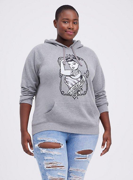 Breast Cancer Awareness Hoodie - Fleece Tattoo Girl Grey, MEDIUM HEATHER GREY, hi-res