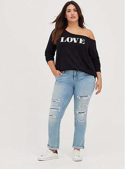 Breast Cancer Awareness Off-Shoulder Sweatshirt - Lightweight French Terry Love Black, DEEP BLACK, alternate