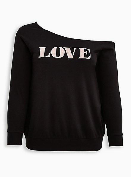 Breast Cancer Awareness Off-Shoulder Sweatshirt - Lightweight French Terry Love Black, DEEP BLACK, hi-res