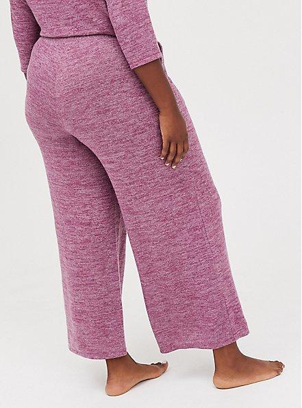 Wide Leg Sleep Pant - Super Soft Plush Burgundy, BURGUNDY, alternate