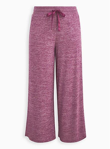 Wide Leg Sleep Pant - Super Soft Plush Burgundy, BURGUNDY, hi-res