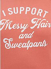 Plus Size Sweatshirt - Cozy Fleece Messy Hair Rusty Brown, DEEP DEPTHS, alternate