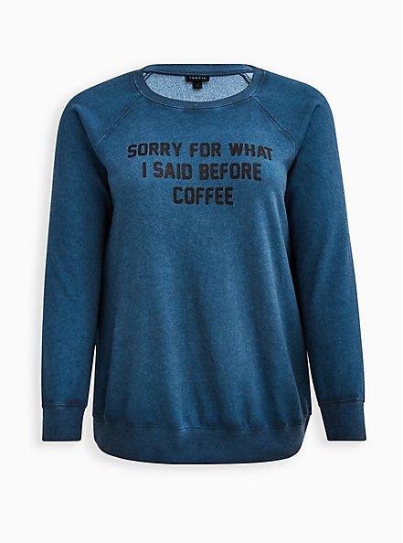 Sweatshirt - Fleece Sorry Coffee Luna Wash Blue , MIDNIGHT, hi-res