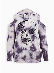 Cold Shoulder Hoodie - Cozy Fleece Bat Skull Tie Dye Grey, NINE IRON, hi-res