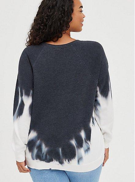 Plus Size Sweatshirt - Cozy Fleece Eagle Tie-Dye Black & White, TIE DYE-BLACK, alternate