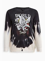 Plus Size Sweatshirt - Cozy Fleece Eagle Tie-Dye Black & White, TIE DYE-BLACK, hi-res