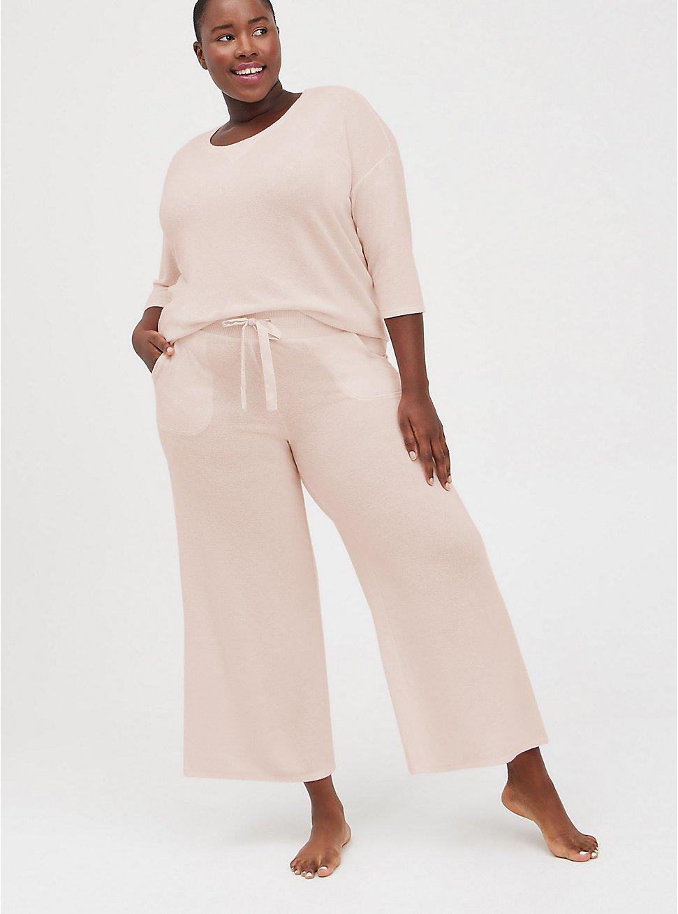 Breast Cancer Awareness Wide Leg Sleep Pant - Super Soft Plush Pink, PINK, hi-res