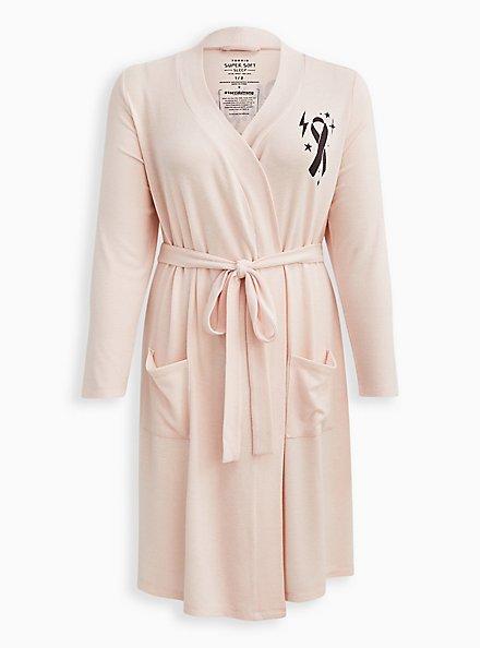 Breast Cancer Awareness Sleep Robe - Super Soft Plush Strong Pink, PINK, hi-res