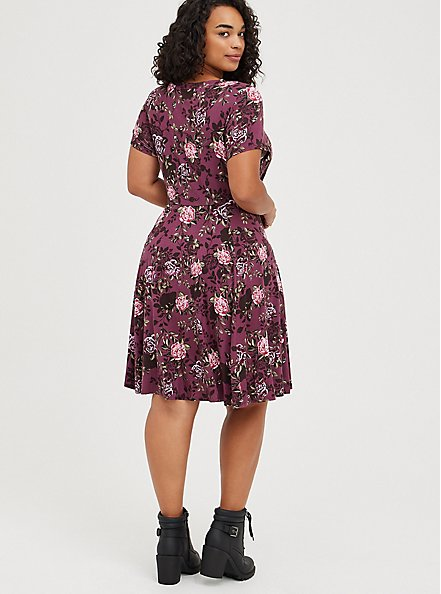 Drape Front Skater Dress - Super Soft Floral Purple, FLORAL - PURPLE, alternate
