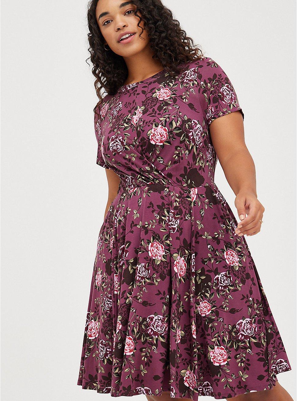 Drape Front Skater Dress - Super Soft Floral Purple, FLORAL - PURPLE, hi-res