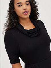 Cowl Neck Skater Dress - Super Soft Black, DEEP BLACK, alternate