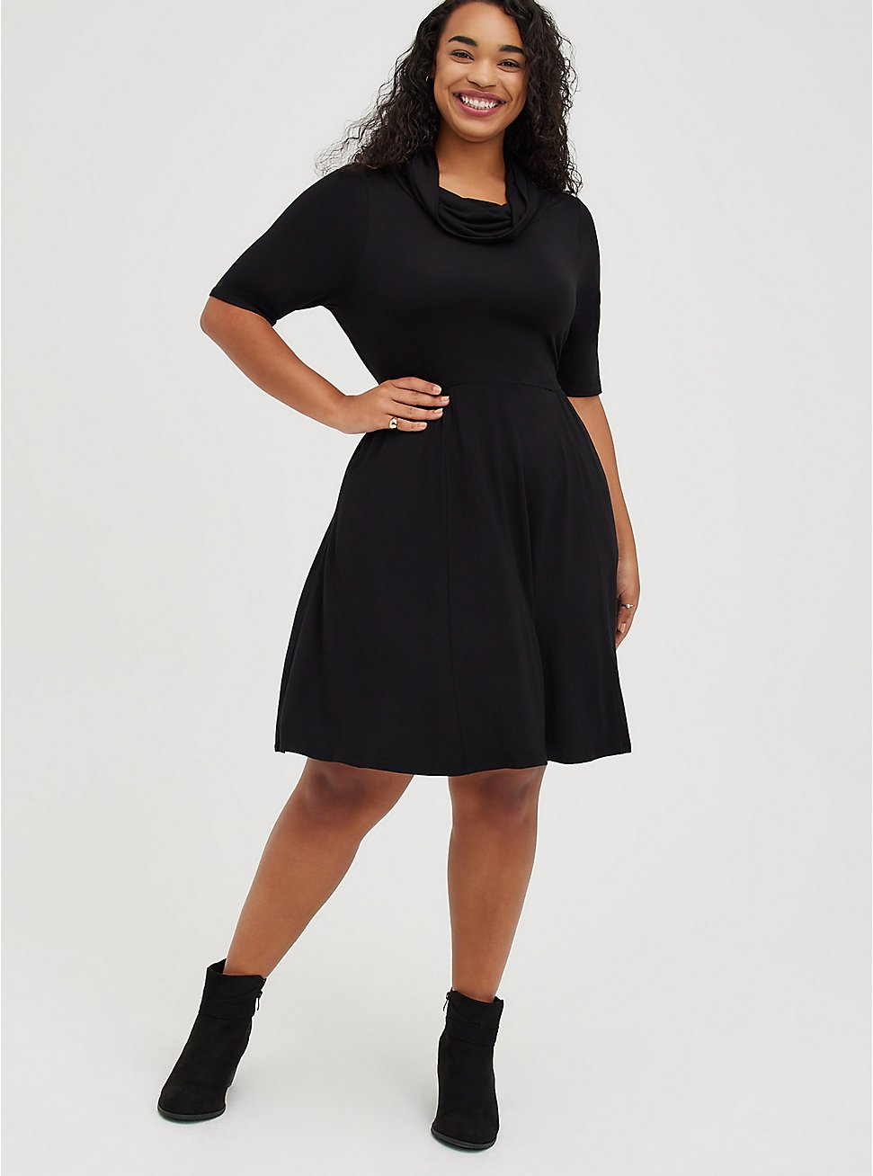 Plus Size Cowl Neck Skater Dress - Super Soft Black, DEEP BLACK, hi-res
