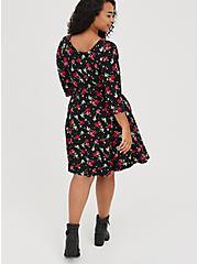 Raglan Babydoll Dress - Ponte Skull Cherry Black, CHERRY  BLACK, alternate