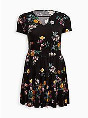 Tiered Crop Top + Mini Skirt Set - Super Soft Floral Black, FLORAL - BLACK, alternate