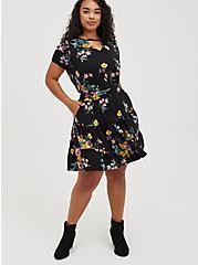 Tiered Crop Top + Mini Skirt Set - Super Soft Floral Black, FLORAL - BLACK, hi-res
