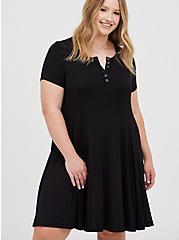 Henley Fit & Flare Dress - Super Soft Black, DEEP BLACK, hi-res