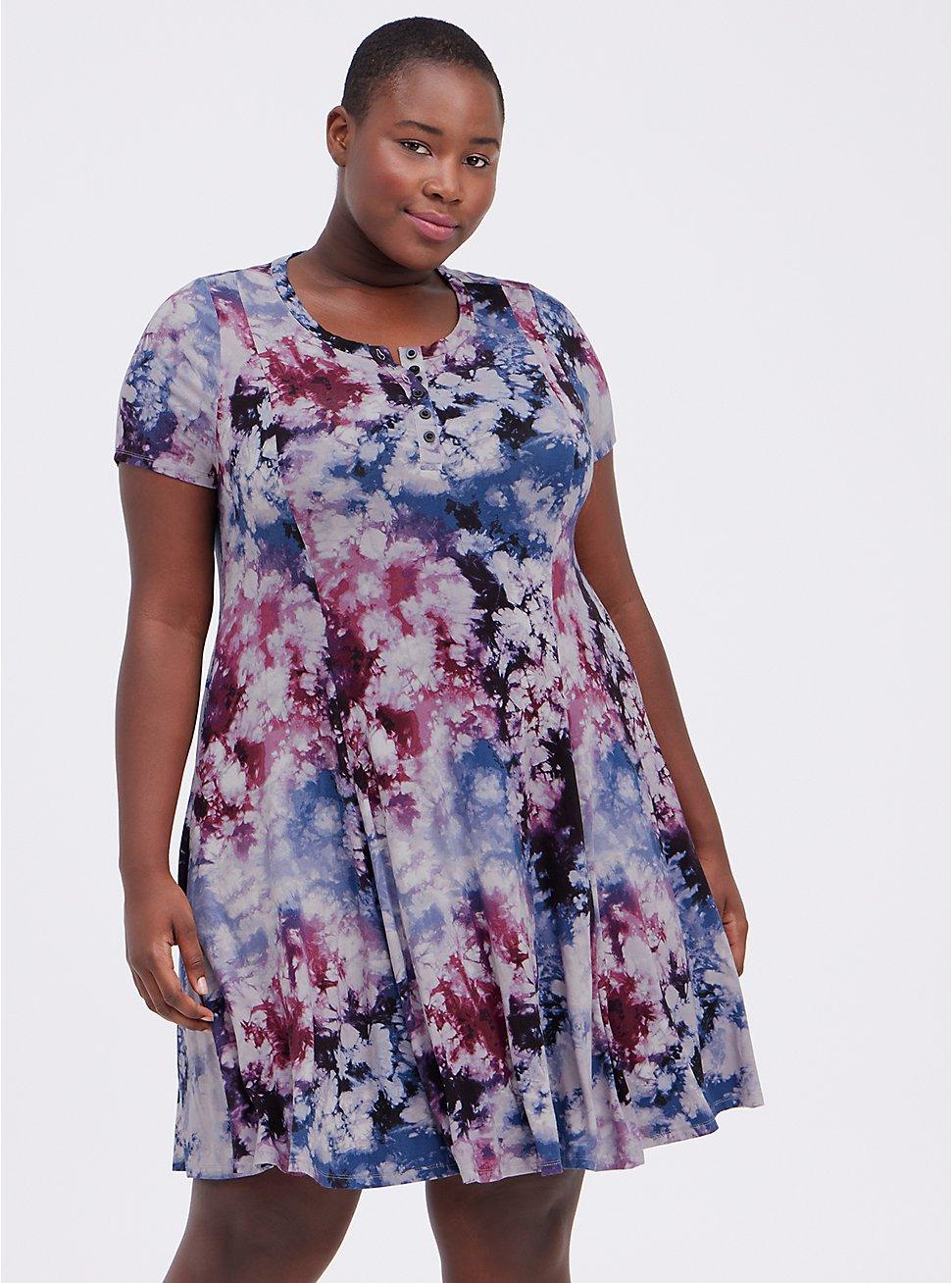 Henley Fit & Flare Dress - Super Soft Tie-Dye Multi , TIE DYE, hi-res