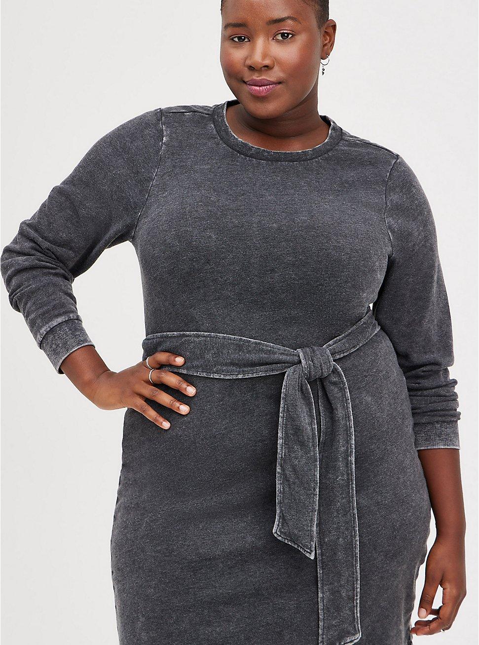 Plus Size Pullover Dress - Cozy Fleece Black Mineral Wash, DEEP BLACK, hi-res