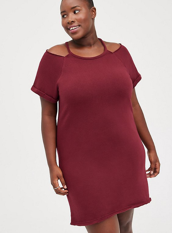 Cold Shoulder Dress - Cozy Fleece Wine, ZINFANDEL, hi-res