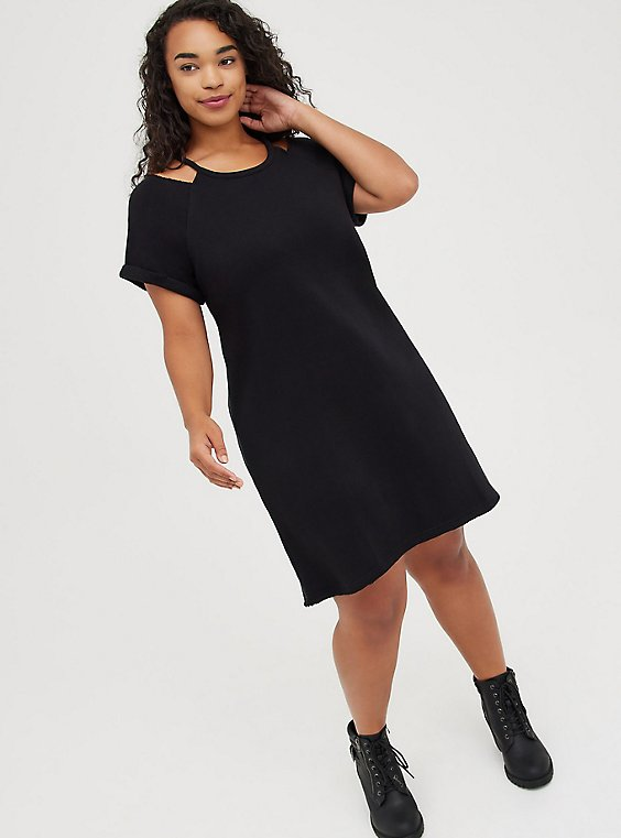 Cold Shoulder Dress - Cozy Fleece Black, DEEP BLACK, hi-res