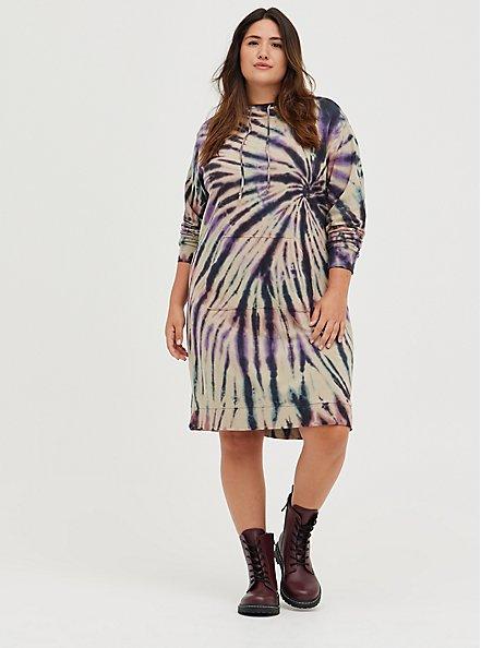Hooded Dress - French Terry Multi Tie Dye, TIE DYE, hi-res