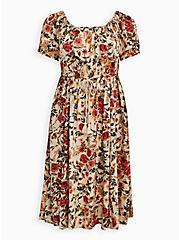Skater Midi Dress - Challis Peasant Floral Cream, FLORAL - IVORY, hi-res