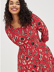 Plus Size Raglan Babydoll Dress - Ponte Tattoo Red, TATTOO, alternate