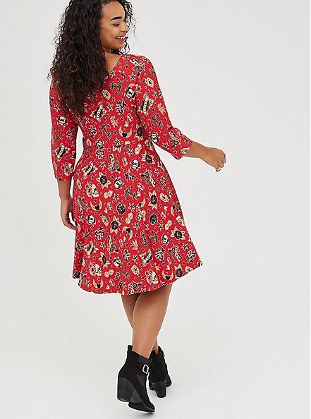 Raglan Babydoll Dress - Ponte Tattoo Red, TATTOO, alternate