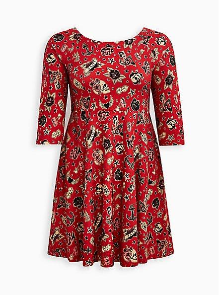Raglan Babydoll Dress - Ponte Tattoo Red, TATTOO, hi-res
