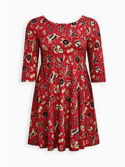 Plus Size Raglan Babydoll Dress - Ponte Tattoo Red, TATTOO, hi-res