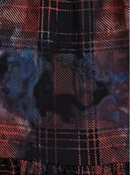 Tiered Midi Dress - Super Soft & Challis Plaid Red & Black, PLAID - RED, alternate