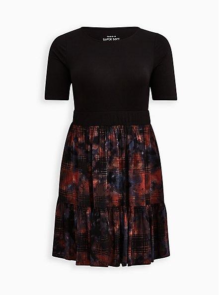 Tiered Midi Dress - Super Soft & Challis Plaid Red & Black, PLAID - RED, hi-res